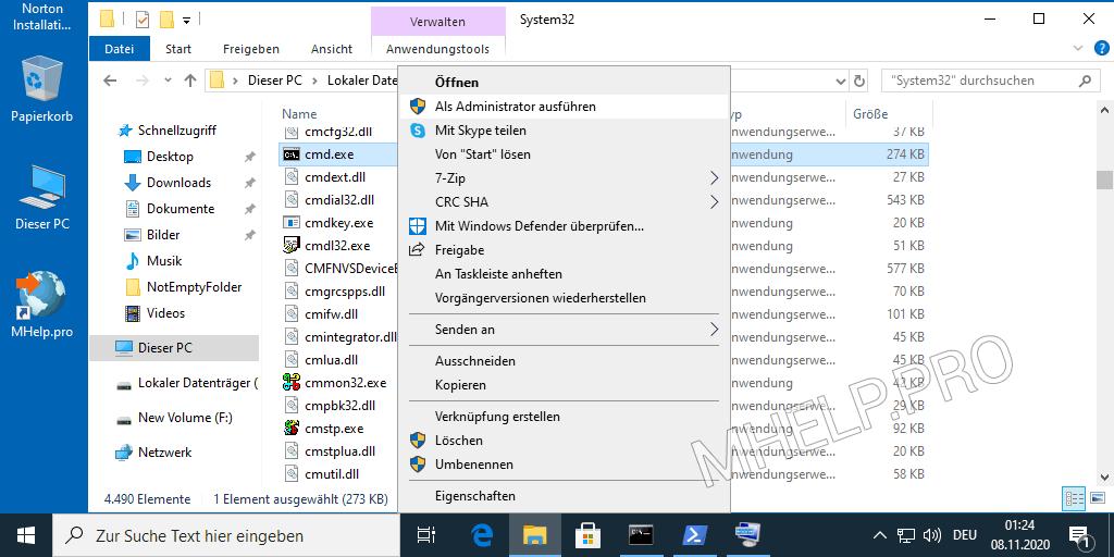Führen Sie die Eingabeaufforderung als Administrator im Windows-Ordner aus
