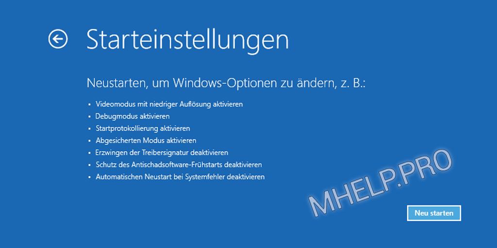 Windows abgesicherter Modus - Neu starten