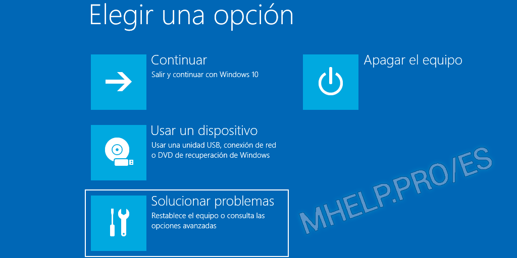 Windows 10 Elegir una opción