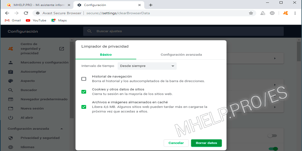 Borrar Caché Avast Secure Browser