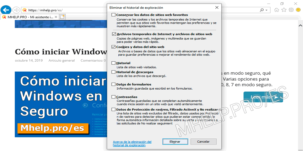 Borrar Caché Internet Explorer