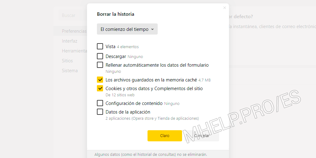 Borrar Caché Yandex Browser