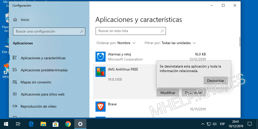 Desinstalación estándar AVG Antivirus de Windows