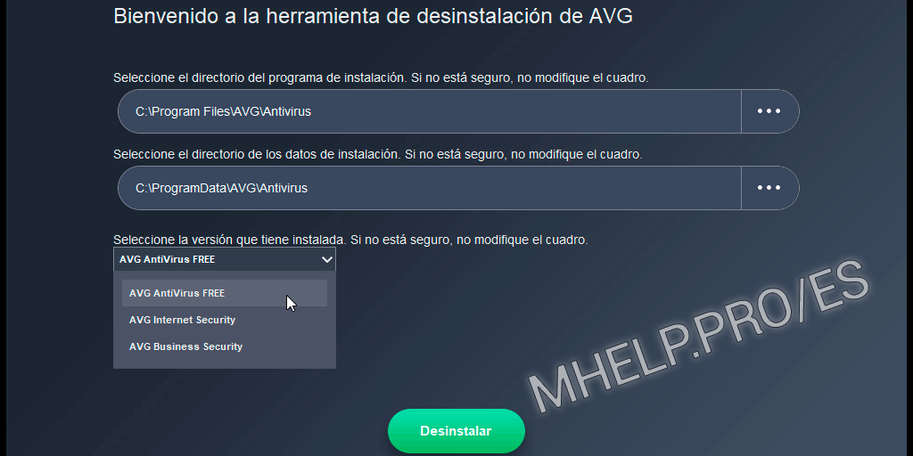 Eliminación forzada AVG Antivirus de Windows