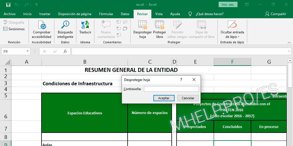 La forma estándar desbloquear una hoja protegida de Excel