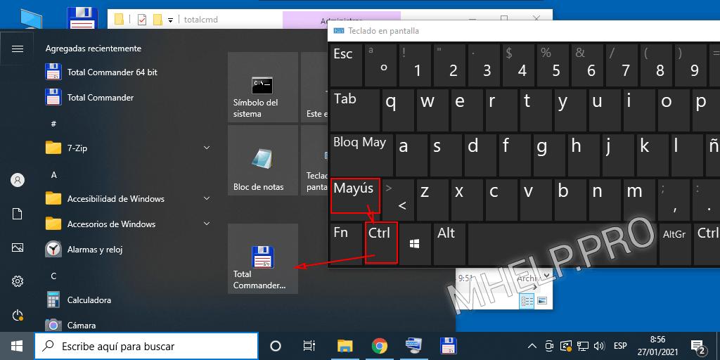 Keyboard shortcut to run the program as administrator in the Start menu