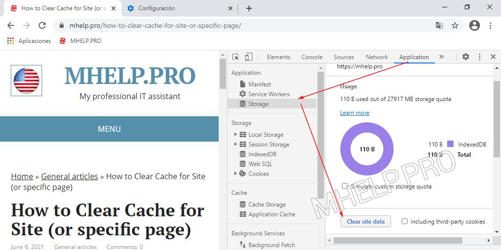 Borrado de la caché del sitio MHelp.pro mediante Herramientas para desarrolladores