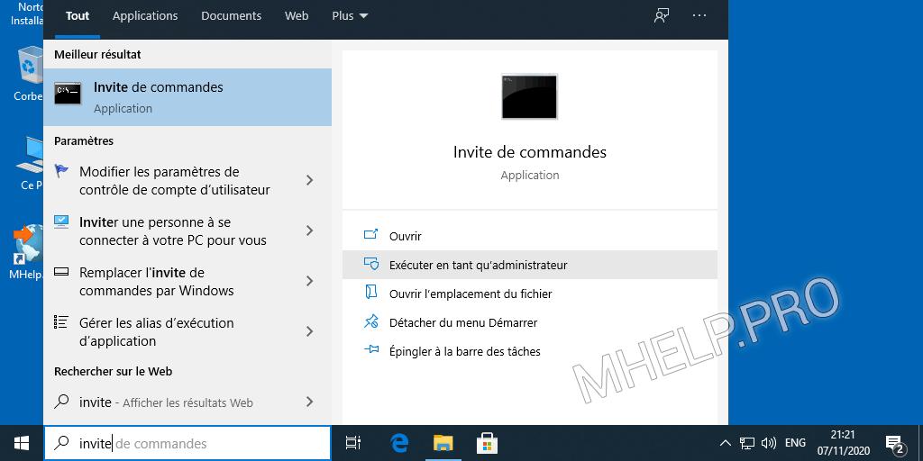 Comment exécuter Invite de commande en tant qu'administrateur utilisation recherche Windows 10