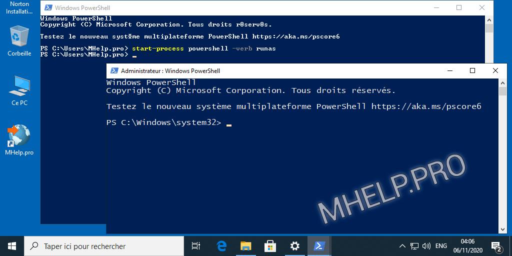 Comment exécuter PowerShell en tant qu'administrateur via le PowerShell (avec droits d'utilisateur)