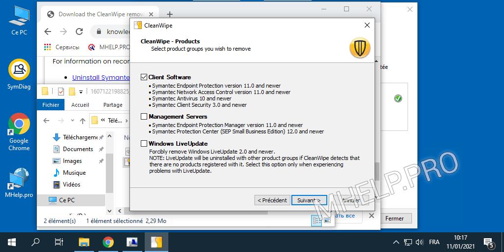Suppression complète de Symantec (CleanWipe)