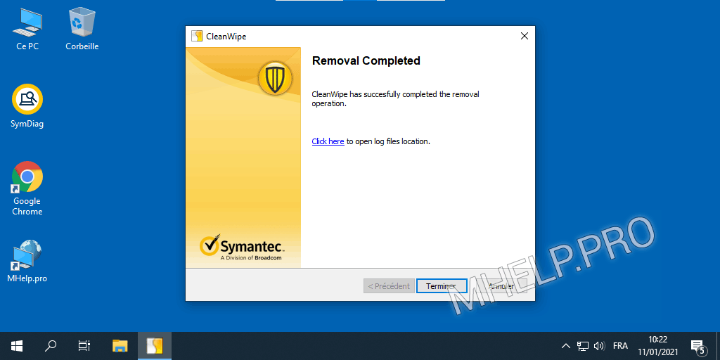 Suppression de CleanWipe Symantec Endpoint Protection terminée