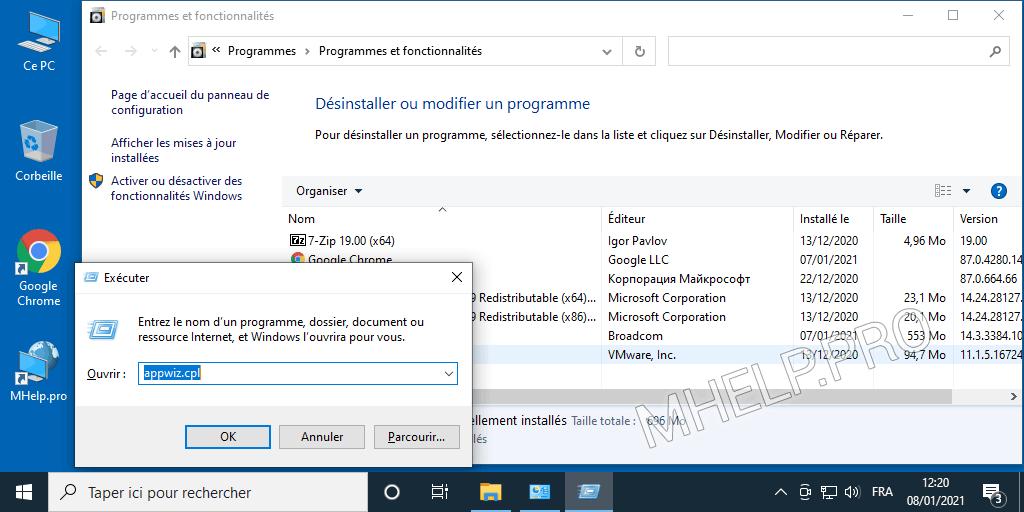 Windows - liste des programmes et fonctionnalités à l'aide de appwiz.cpl