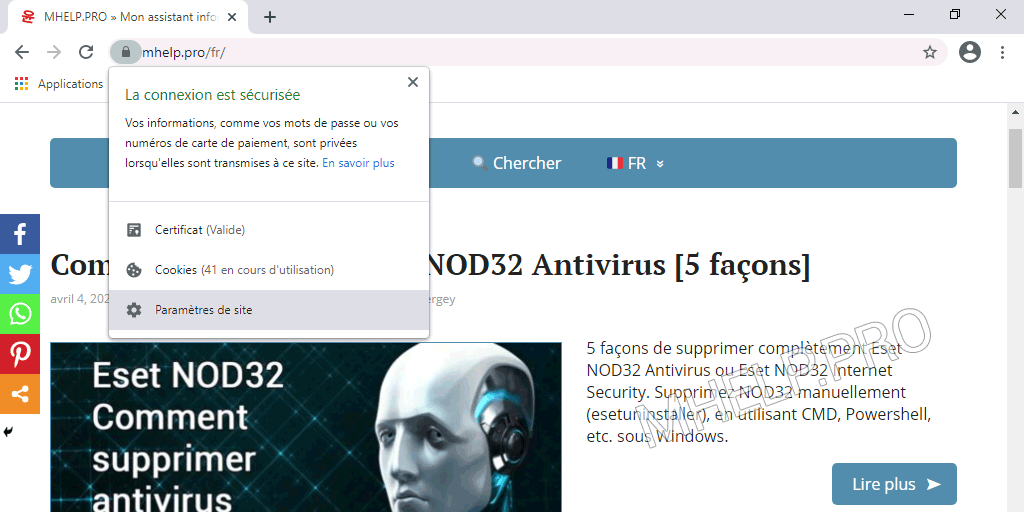 Comment vider le cache d'un site (d'une page spécifique) à l'aide du bouton Afficher des informations à propos du site.
