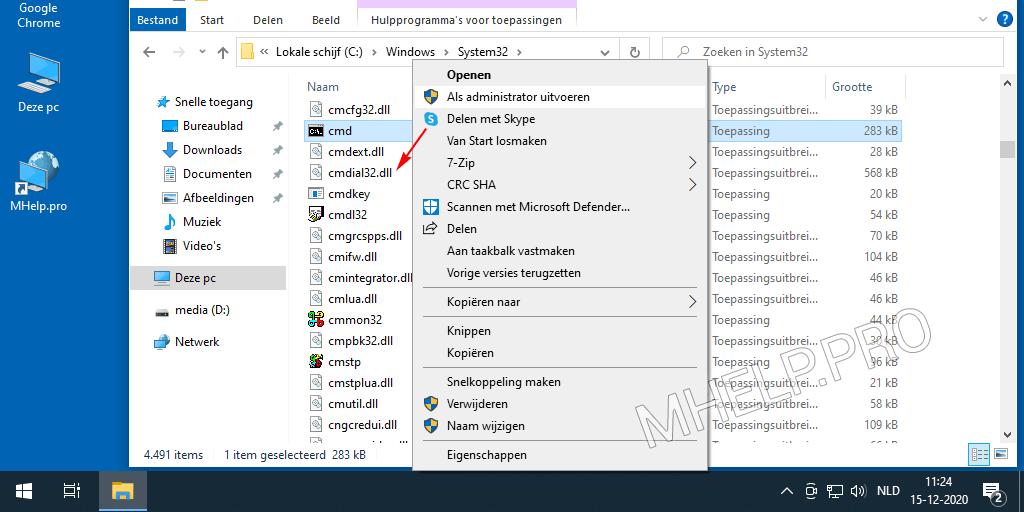 Een opdrachtprompt starten vanuit de System32-systeemmap