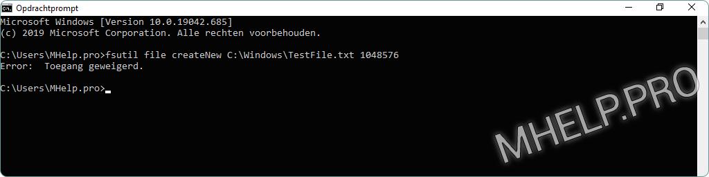 Maak een bestand met een specifieke grootte met behulp van de Windows-opdrachtprompt. Fout: Toegang geweigerd tijdens het maken van een bestand