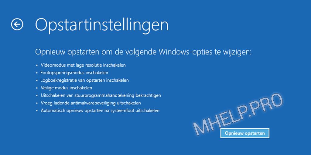 Veilige modus Windows - Opnieuw opstarten