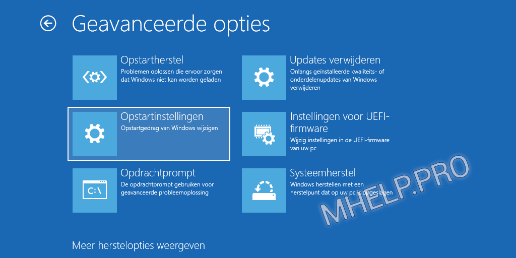 Veilige modus Windows - Opstartinstellingen