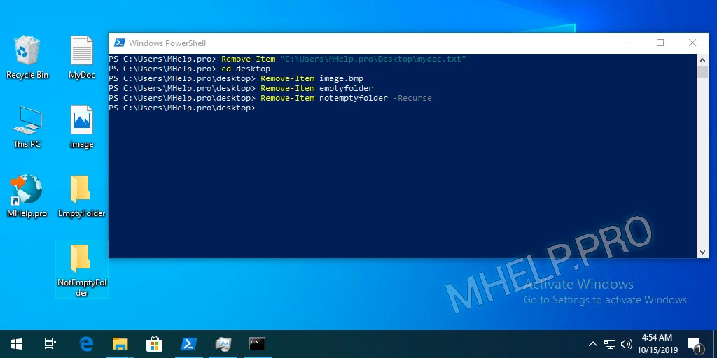 PowerShell delete files and folders