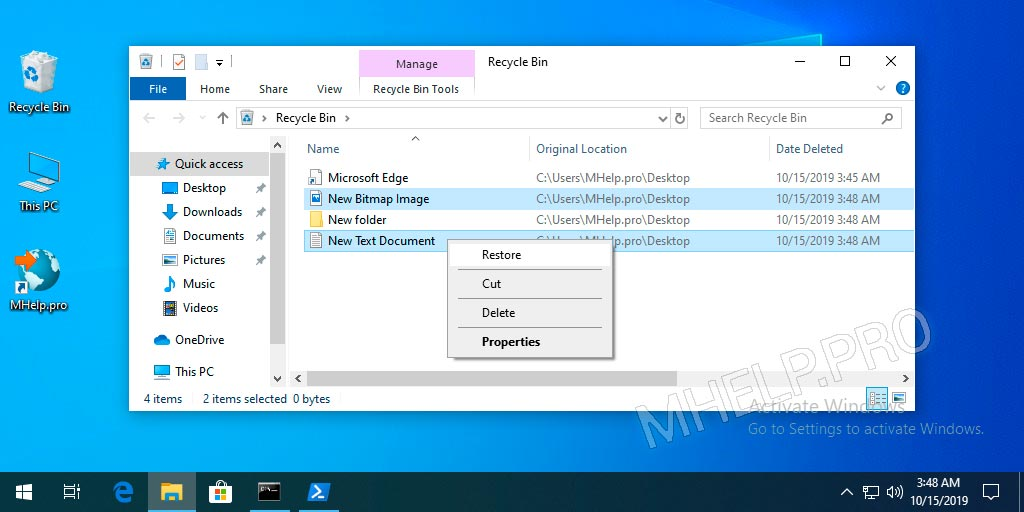Recycle Bin restore files and folders