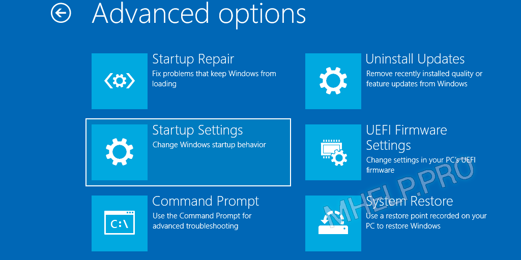 Advanced options - Startup settings boot Windows 10