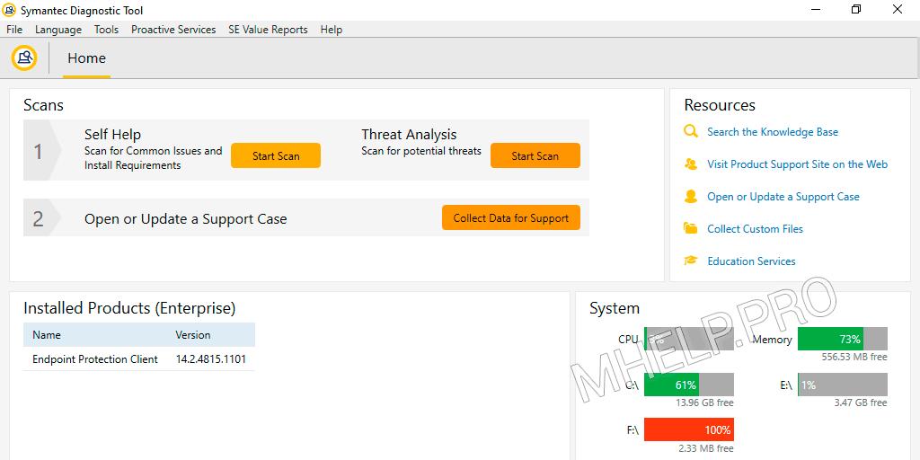 SymDiag start Self-help scan