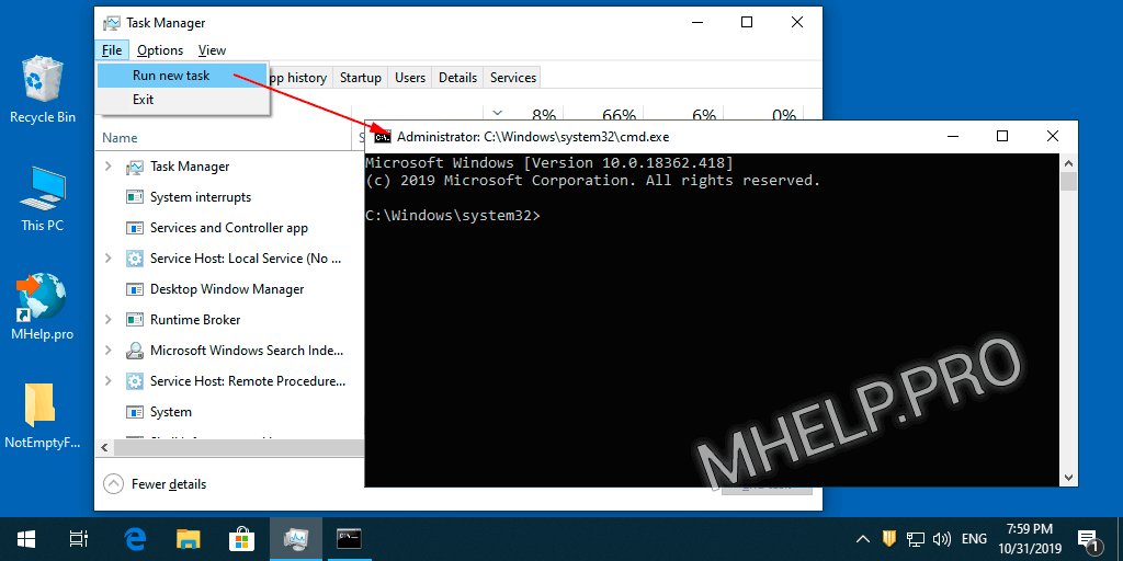 Run Command Prompt as admin via Task Manager (quick)