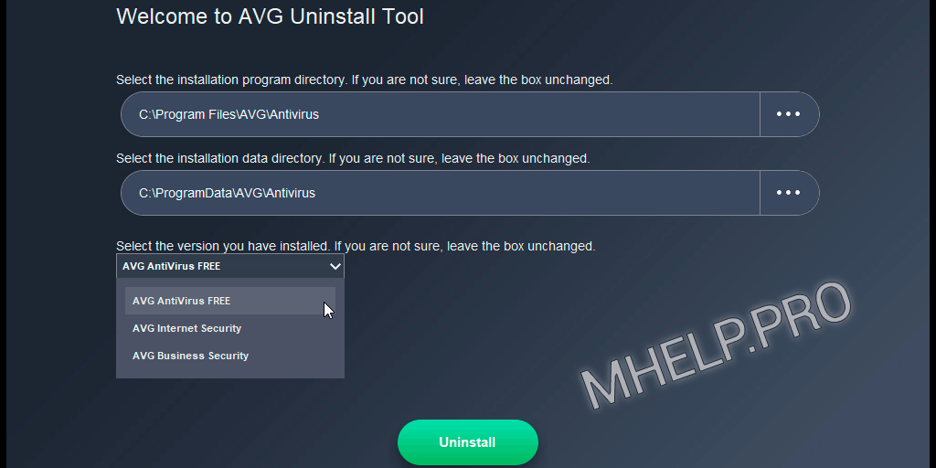 Forced remove AVG Antivirus from Windows