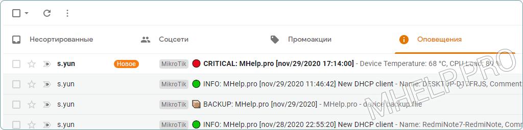 Exemple d'e-mail sur la surchauffe de l'appareil MikroTik. Obtenir la température de l'appareil et la charge du processeur