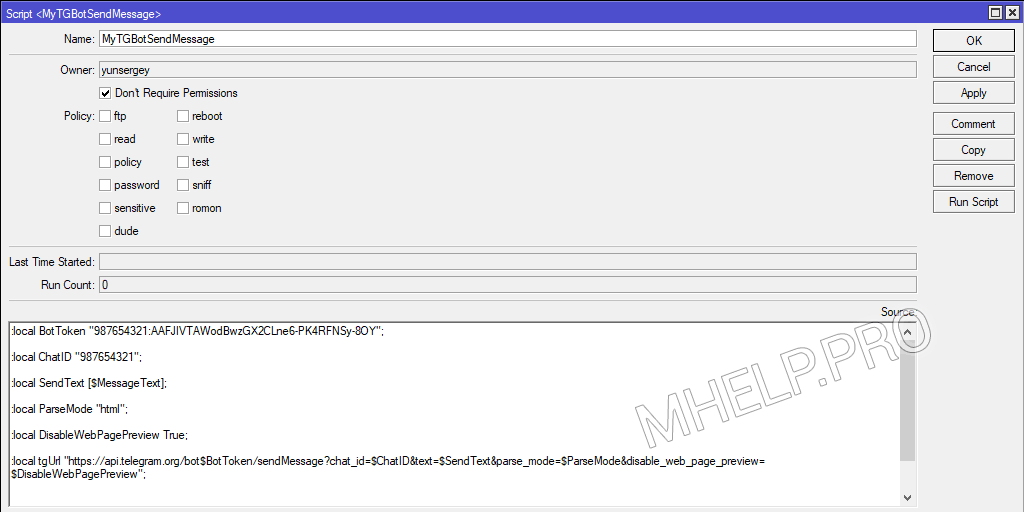 MikroTik-Skripte: Senden einer Nachricht an Telegramm (Funktion)