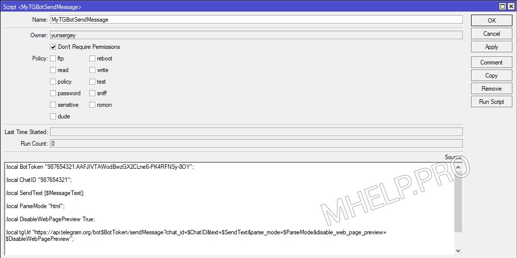 Script 'Een bericht naar Telegram verzenden'