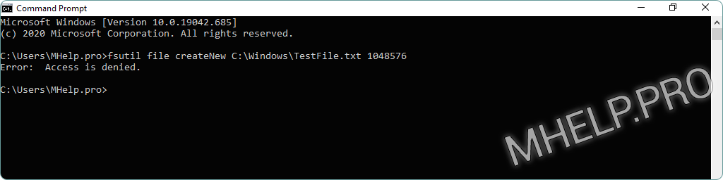 Create a file of a specific size using the Windows command prompt. Error: Access is denied, while creating file