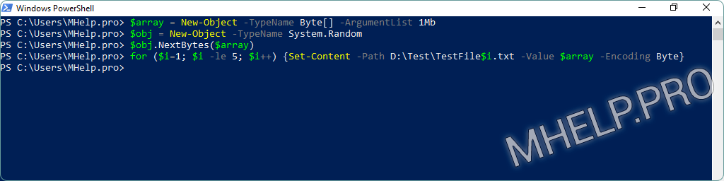 Create multiple files of arbitrary size using Windows PowerShell