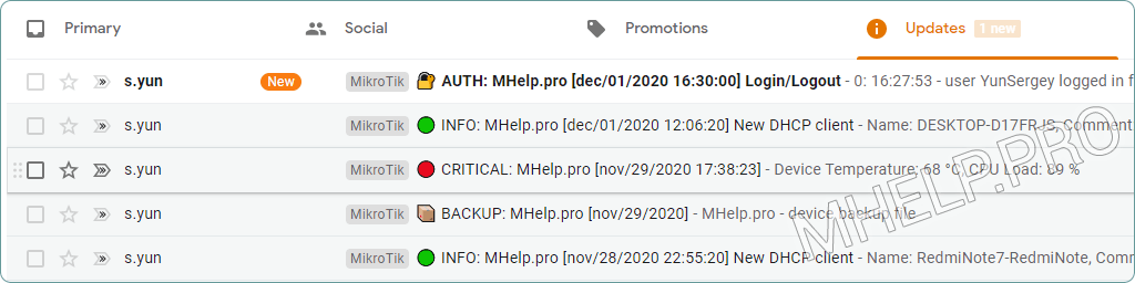 Notification par e-mail lors de la connexion de l'utilisateur à l'appareil MikroTik