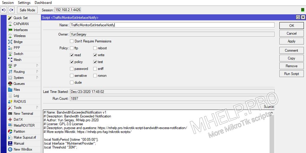 Script MikroTik: notification d'excès de bande passante
