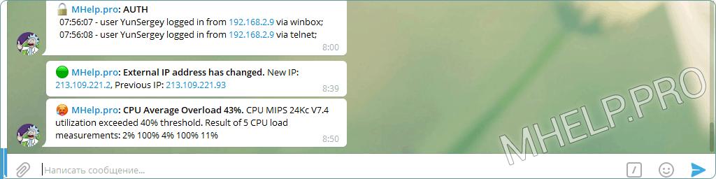 Mensaje de telegrama sobre sobrecarga de CPU