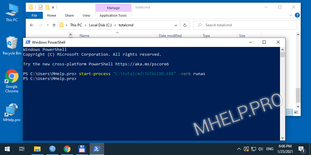 Run the program as administrator using Microsoft PowerShell