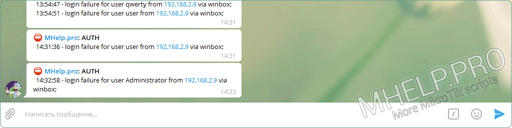 Sample Telegram message - notification of login failure to MikroTik device