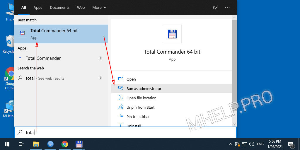 Use Windows 10 Search to run the program with full administrator rights