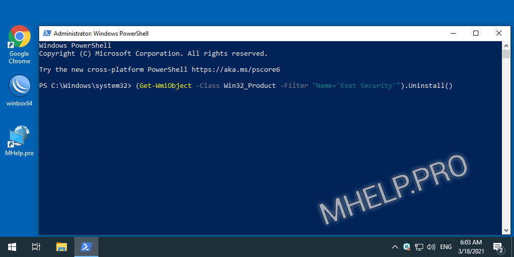 How to remove NOD32 using PowerShell
